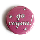 Go Vegan! (pinks stars) - Button