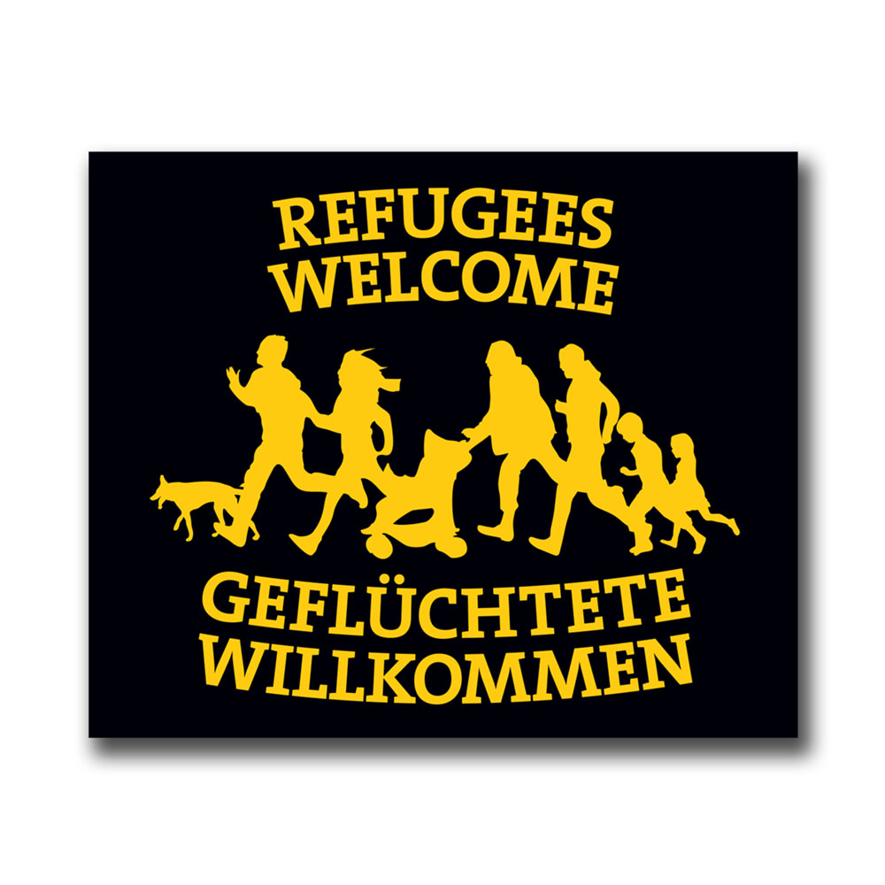 Refugees Welcome Benefit Sticker