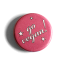 Go Vegan! (pink with stars) -  Fridge Magnet