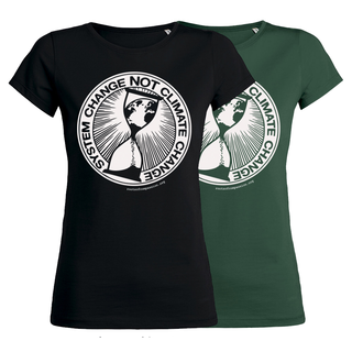 SALE! System Change Not Climate Change - Soli T-Shirt - small/waisted cut (discontinued model)