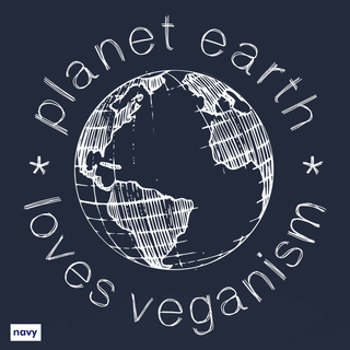 Planet Earth Loves Veganism - T-Shirt - groß/gerader Schnitt