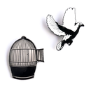 Bird and Open Cage - Pin 2 pcs-set