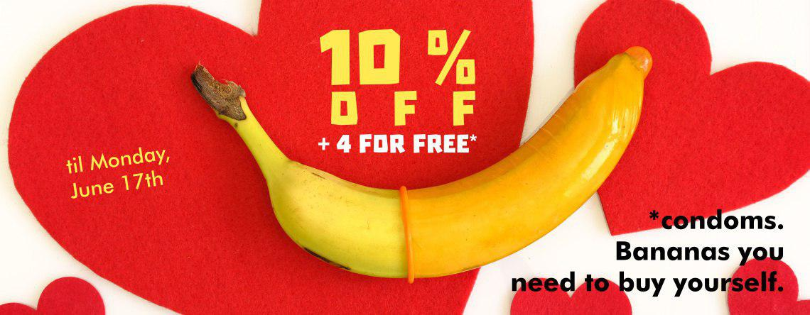 10 % off Condoms + 4 for free