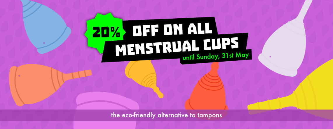 20 percent off on all menstrual cups